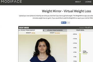 Screenshot of Modiface Weight Mirror