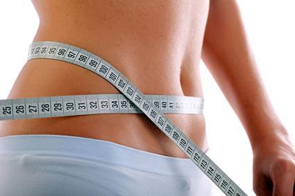 Closeup of measuring waist