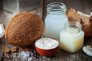 Coconut oil and milk, coconut flakes and whole coconut