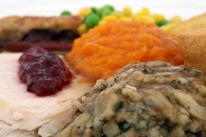 A typical Thanksgiving plate