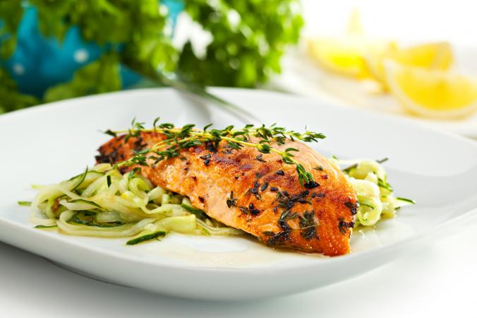 salmon and zucchini noodles