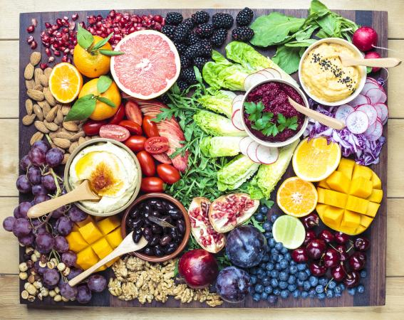 Colorful selection of healthy foods