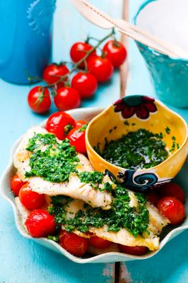 Baked tilapia with cherry tomatoes