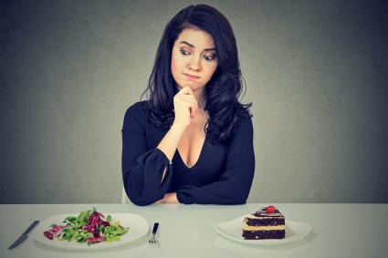 Choosing between salad and cake
