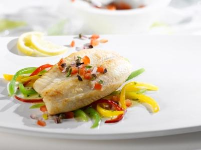 Halibut and peppers