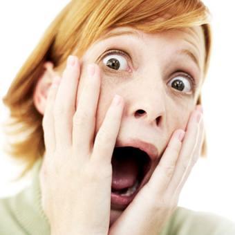 Woman looking shocked