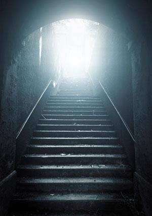 Stairway going up to the light