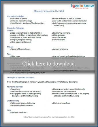 marriage separation checklist