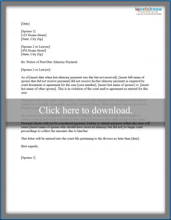 alimony demand printable
