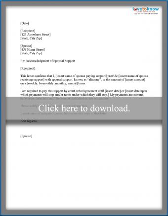 acknolwedgement of spousal support letter
