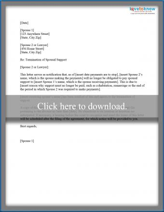 termination of spousal support letter