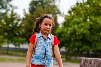 School girl crying