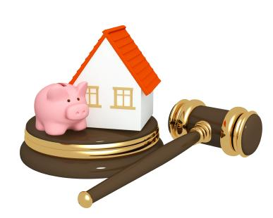 Piggy Bank, House and Gavel