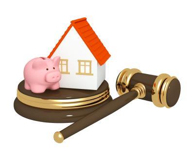 Piggy Bank, House and Gavel
