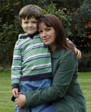 Woman with son in striped shirt