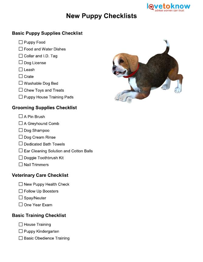New puppy checklist lovetoknow ccuart Gallery