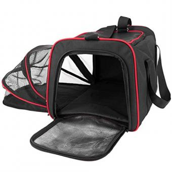 Frontpet Expandable Pet Carrier With Padded Fleece Insert.