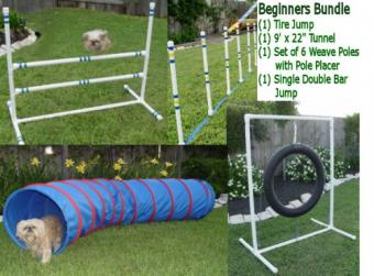 Weave Poles Dog Agility Equipment Beginners Bundle