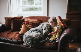 Small girl and huge Irish Wolfhound
