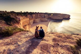 German shepherd and man looking at the cliffs