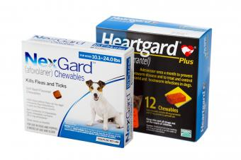Nexgard a veterinarian medicine for flea and tick treatment and a box of heartgard used to prevent heartworms in dogs.