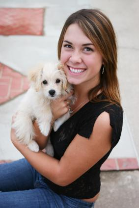 Maltipoo with owner