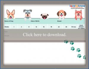 Blank Puppy Weight Chart
