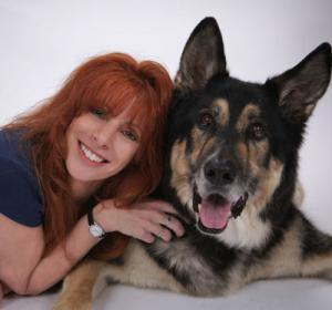 Author Nicole Wilde and her dog Mojo