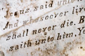 Scripture quote on a headstone