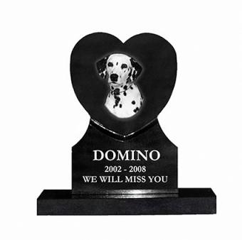Upright heart grave marker with dog's image