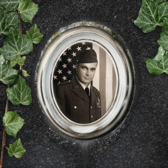 headstone with photo