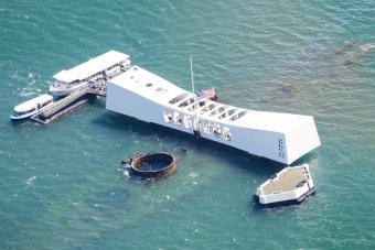 Aerial view of USS Arizona Memorial, World War II Valor in the Pacific National Monument, Honolulu, Oahu, Hawaii, USA