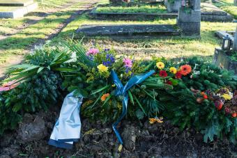 Grave blanket in cemetery