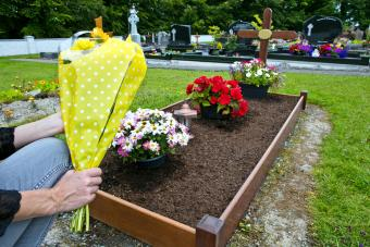 Mourner at a green burial site