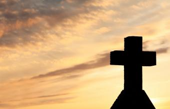 Cross monument in the sunset
