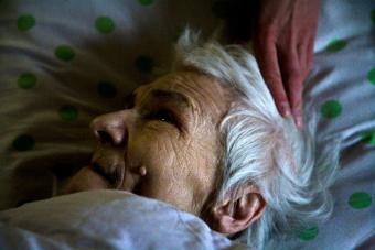 Elderly woman close to death