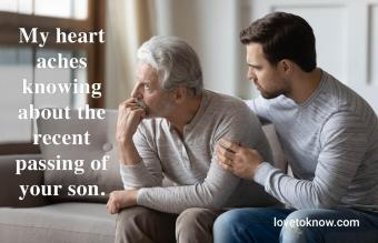 Man support upset elderly father
