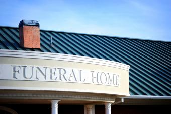 Funeral home sign on building
