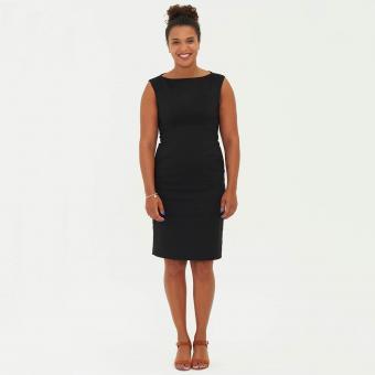 Woman in short sleeve short dress