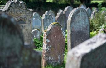 old gravestones on a graveyard