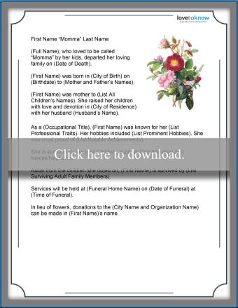 Word Obituary Template for Mother