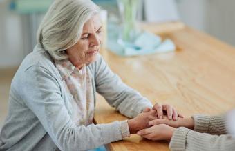 Comforting grieving widow