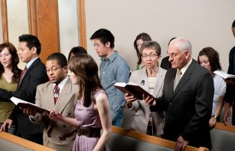 church congregation worshipping together