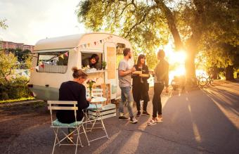funeral reception with food truck