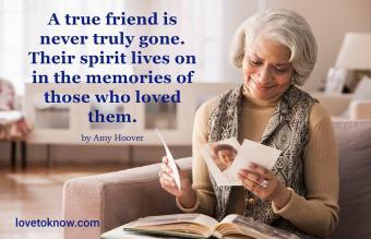 woman remembering a dead friend