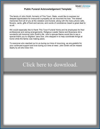 Sample Funeral Acknowledgement Template