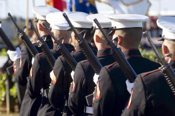 Marine Corp performs the 21-gun salute