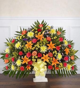 Heartfelt Tribute Floor Basket- Bright