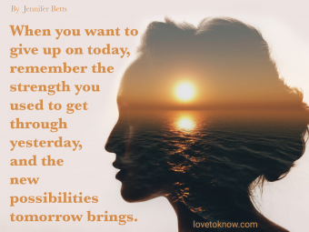 Sunrise and Woman's Silhouette and Suicide Prevention Quote