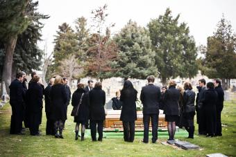 Outdoor shot of funeral